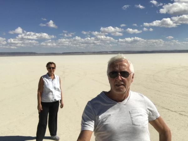 Sur playa de sel désert d'Alvord. Trop beau !!!