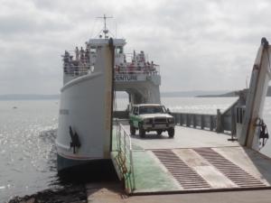 Teddi sur le ferry direction Fraser Island